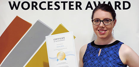 The Worcester Award - student with her certificate