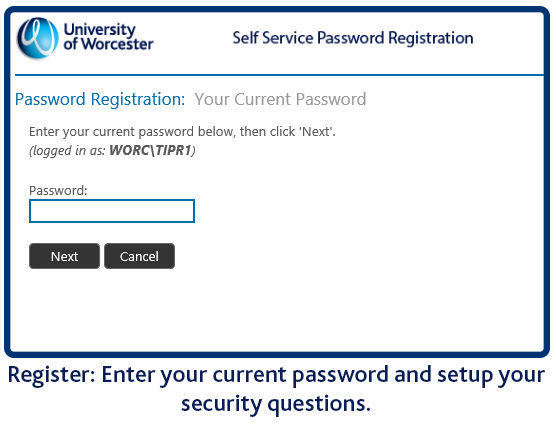 Register and set up security questions