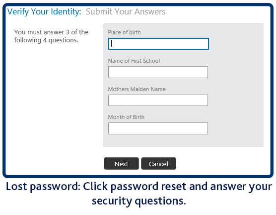 Lost password, answer your security question