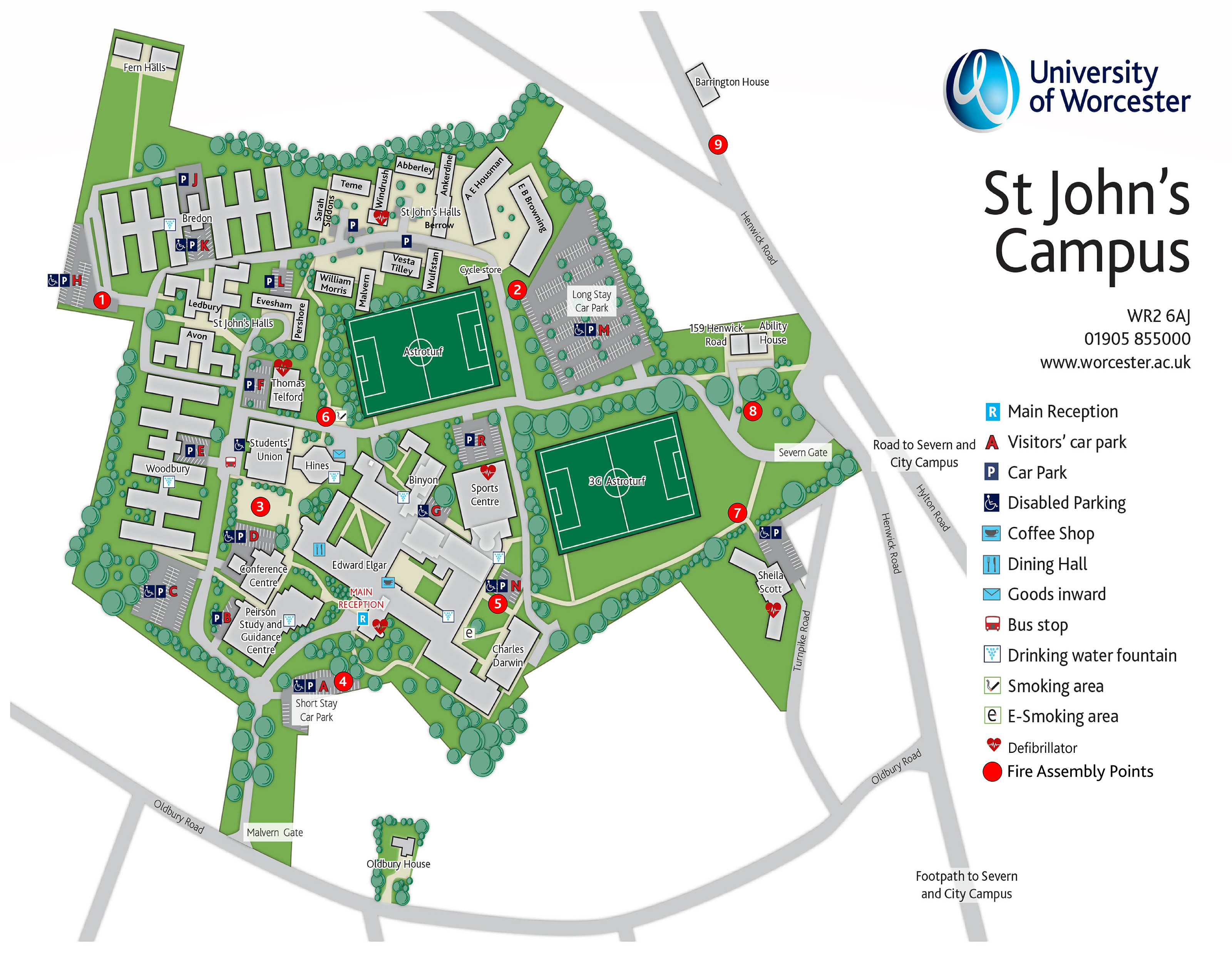 university of worcester campus map University Of Worcester Human Resources Fire Emergency university of worcester campus map
